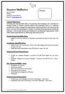 Resume Format Doc by 10000 Cv And Resume Sles With Free Professional Chartered Accountant Resume