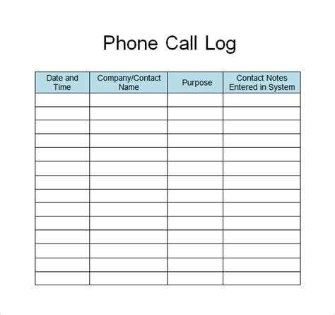 28 Log Templates Sle Templates Free Call Log Template