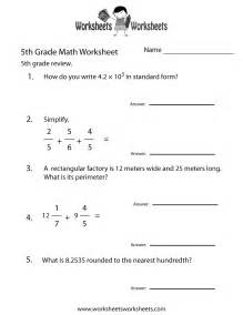 5th grade math review worksheet free printable
