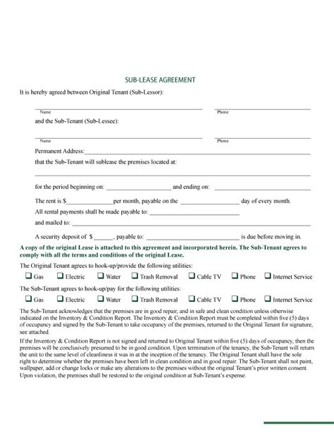 template for sublease agreement 40 professional sublease agreement templates forms