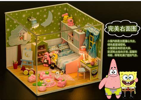 spongebob doll house kits wood dollhouse miniature diy clay dolls house