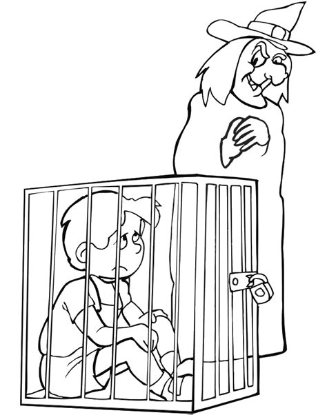 hansel and gretel coloring page hansel trapped in cage