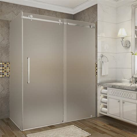 Frosted Shower Glass Doors Aston Moselle 56 In 60 In X 35 In X 75 In Frameless Sliding Shower Enclosure Frosted