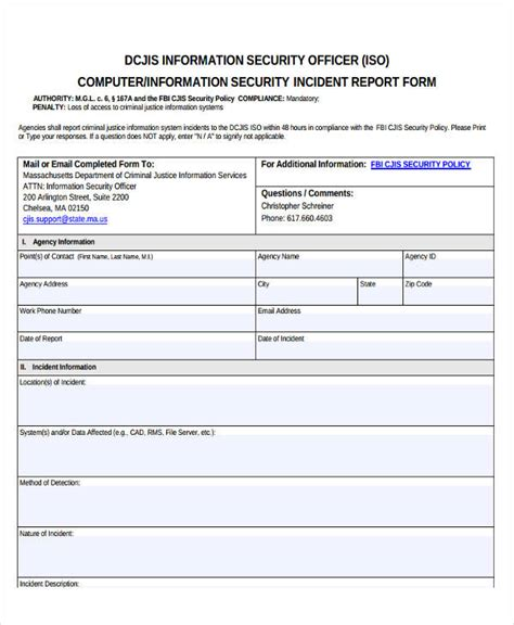 system incident report template information security incident report template 28 images