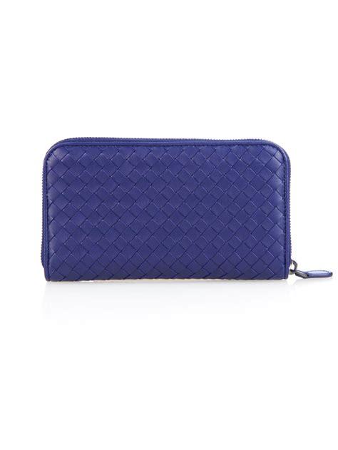 Bottega Veneta Intrecciato Karung Leather Wallet by Lyst Bottega Veneta Intrecciato Leather Zip Around