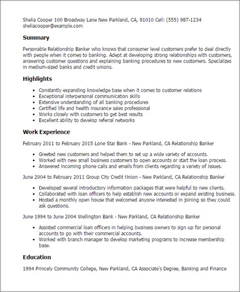 personal banker resume sles professional relationship banker templates to showcase
