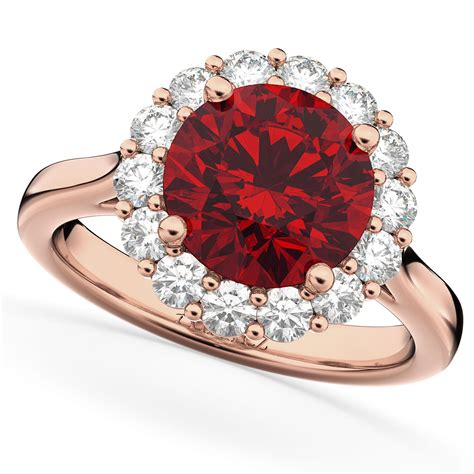 Ruby 5 45 Ct halo ruby engagement ring 14k gold 4 45ct