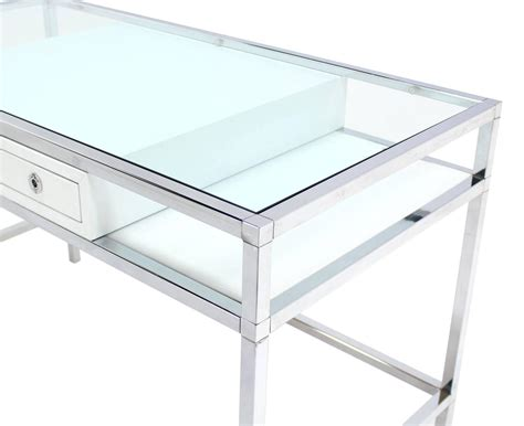glass desk with storage chrome and glass one writing desk at 1stdibs