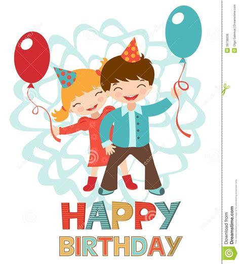 clipart compleanno bambini biglietto di auguri per il compleanno con i bambini felici