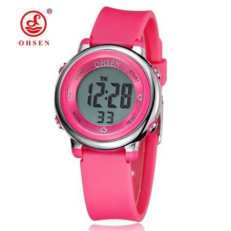 ohsen digital lcd pink wristwatch rubber