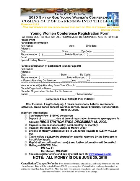 youth registration form template best photos of s conference registration form