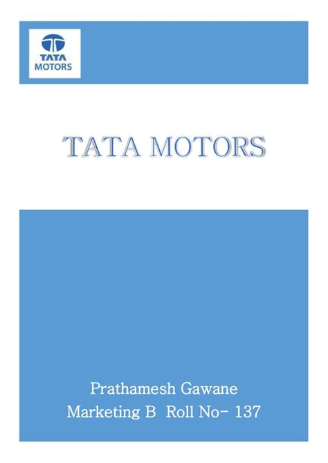 Mba Marketing In Tata Motors tata motors international business project report