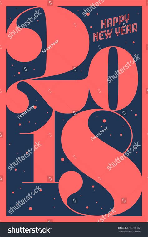 greeting card inscription happy new year stock vector