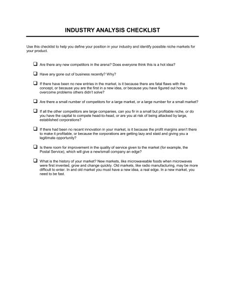 Checklist Industry Analysis Template Sle Form Biztree Com Industry Analysis Template