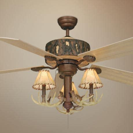 log cabin ceiling fans 52 quot vaxcel log cabin ceiling fan with antler 3 light kit