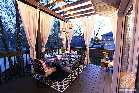 deck makeover a covered porch room for dining and deck decorating ideas pergola lights and cement planters