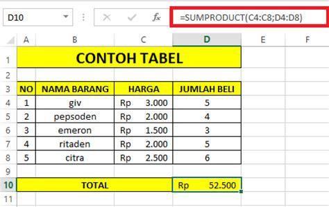 desain tabel database menggunakan excel fungsi rumus sumproduct pada microsoft excel cara1komputer