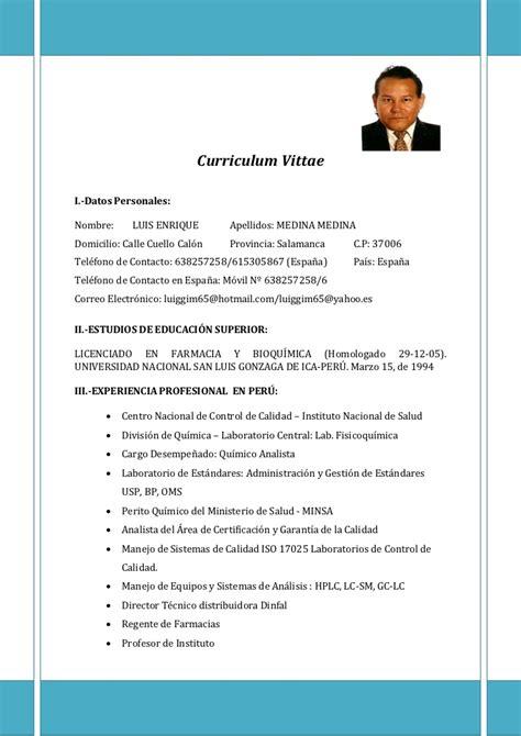 Modelo Curriculum Vitae Quimico Farmaceutico curriculum vittae phd luis enrique medina medina docx