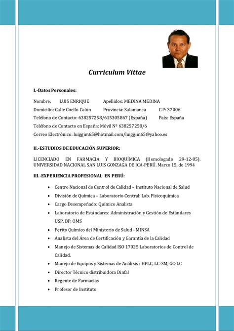 Modelo Curriculum Vitae Para Farmaceutico Curriculum Vittae Phd Luis Enrique Medina Medina Docx
