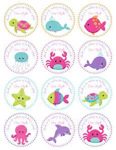 pink girls under the sea birthday personalized printable