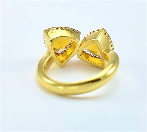 Citrine Gold Cutting 908 14k yellow gold trillion cut citrine and cocktail ring property room