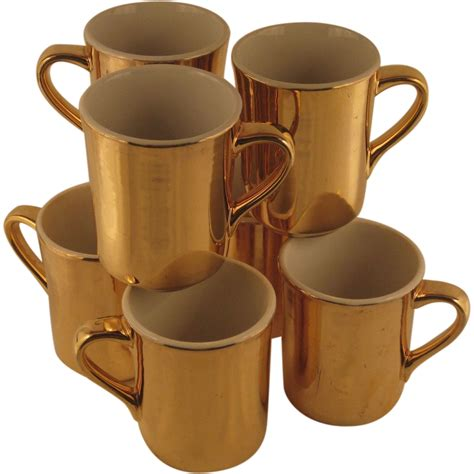 gold coffee mug hall pottery gold coffee cups sold on ruby lane