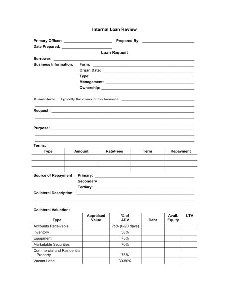 Loan Application Review Form   Template & Sample Form   Biztree.com