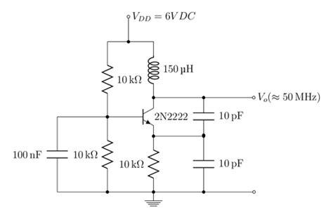npn transistor oscillator colpitts oscillator with npn transistor tikz exle