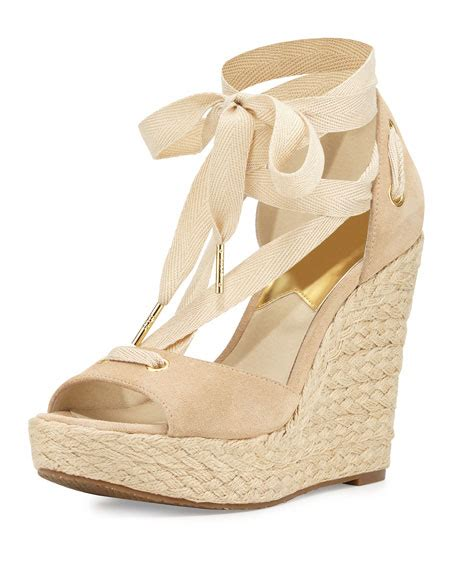 bone wedge sandals michael michael kors lilah suede wedge sandal bone