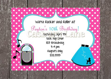 50 S Party Invites And Party Tags 50 S Party Collection Casbury Lane Ideas For Saydeez Sweet Grease Invitation Template