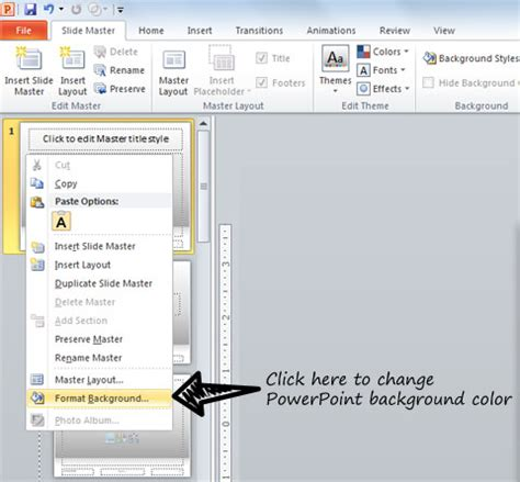 powerpoint theme edit 2010 how to change powerpoint background color in ms office