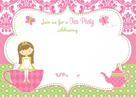 printable invitation party free printable tea party invitation template for girl