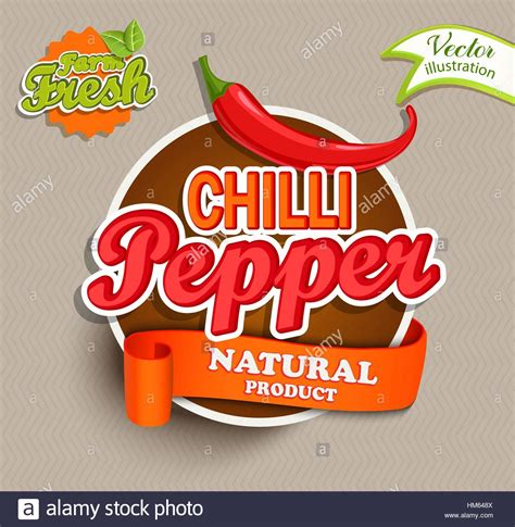 Stiker Label Makanan Produk 1 chilli pepper logo lettering typography food label or sticker stock vector illustration