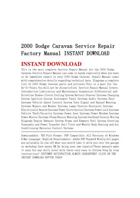 service manual ac repair manual 2000 dodge caravan service manual 1996 dodge grand caravan 2000 dodge caravan service repair factory manual instant download by servicemanual201634 issuu