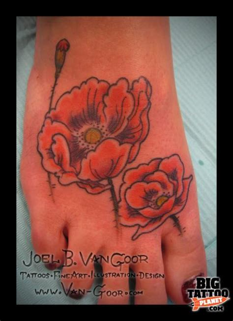 poppy tattoo designs foot joel goor colour big planet