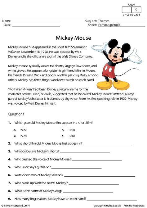 reading comprehension test esl pdf mickey mouse reading comprehension