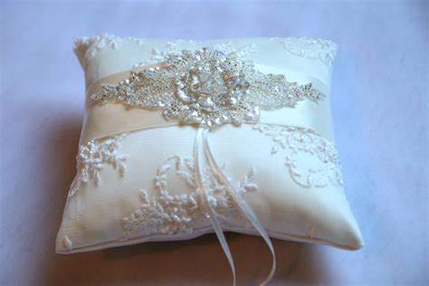 Wedding Rings Pillow by Beaded Lace Wedding Ring Pillow By Gilly Gray