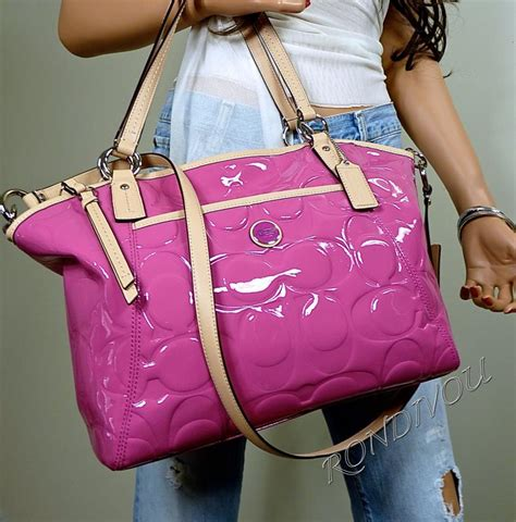 nwt coach pink signature emboss patent leather tote bag
