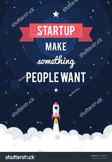 flat design poster vector flat design business startup launch motivational stock
