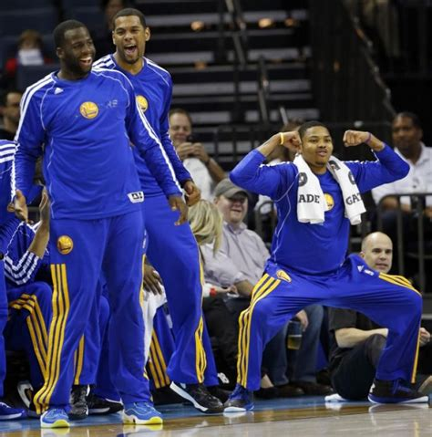 bench celebrations bazemoring turns warriors super sub into video game star