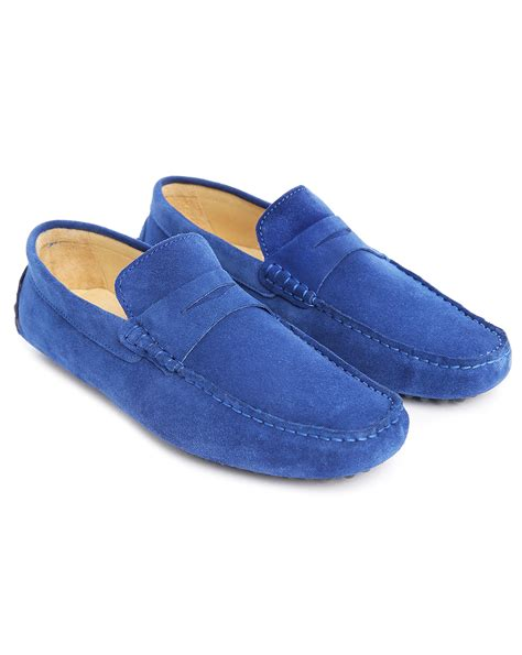blue loafers for m studio roger cobalt blue leather loafers in blue