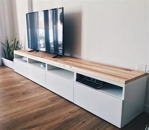 ikea besta tv console hack using reclaimed pallet wood
