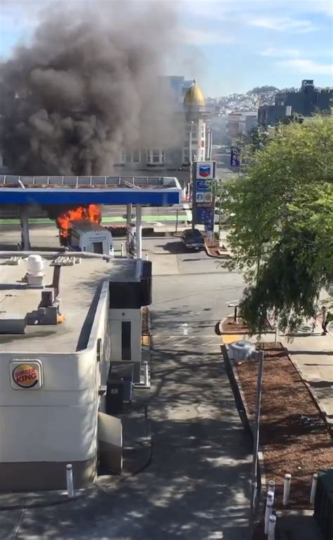 47 Abc Gas Giveaway - photos crews extinguish bus fire at gas station in san francisco s south of market