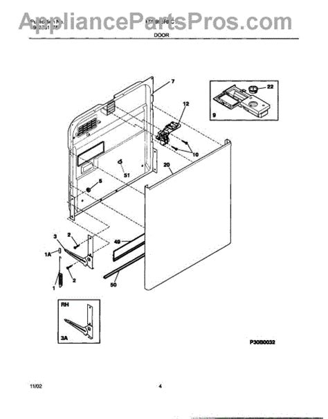 frigidaire gallery dishwasher parts diagram frigidaire 154325201 door linkage