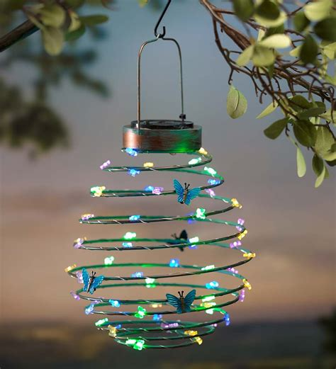 Lantern Hanging Decoration hanging solar lantern decoration butterfly solar
