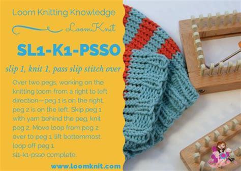 psso knitting loom knitting knowledge sl1 k1 psso loom knitting