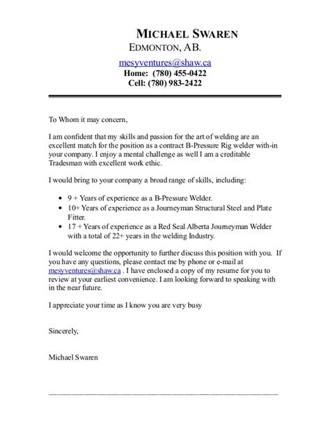 Cover Letter Template Boilermaker Mike Contract Welder Coverletter May 2015