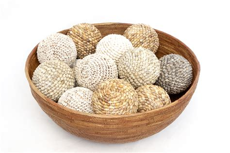 Decorative Bowl With Balls by Atta Bowl Assorted Shell Balls Orient House