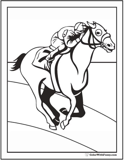 coloring pages of race horses horse racing free colouring pages
