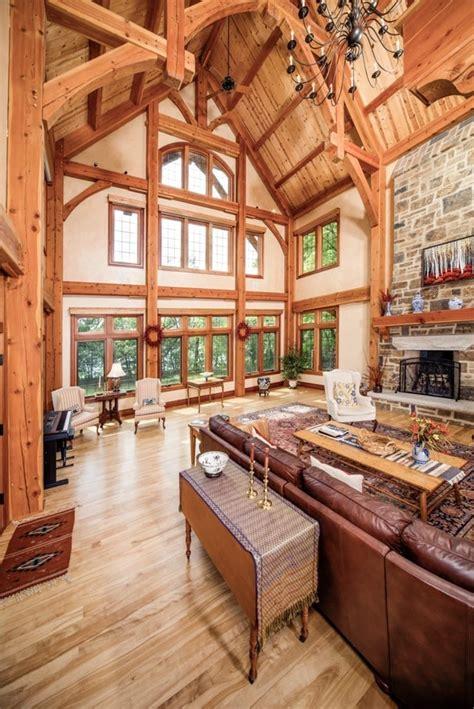 timber frame great room   riverbend